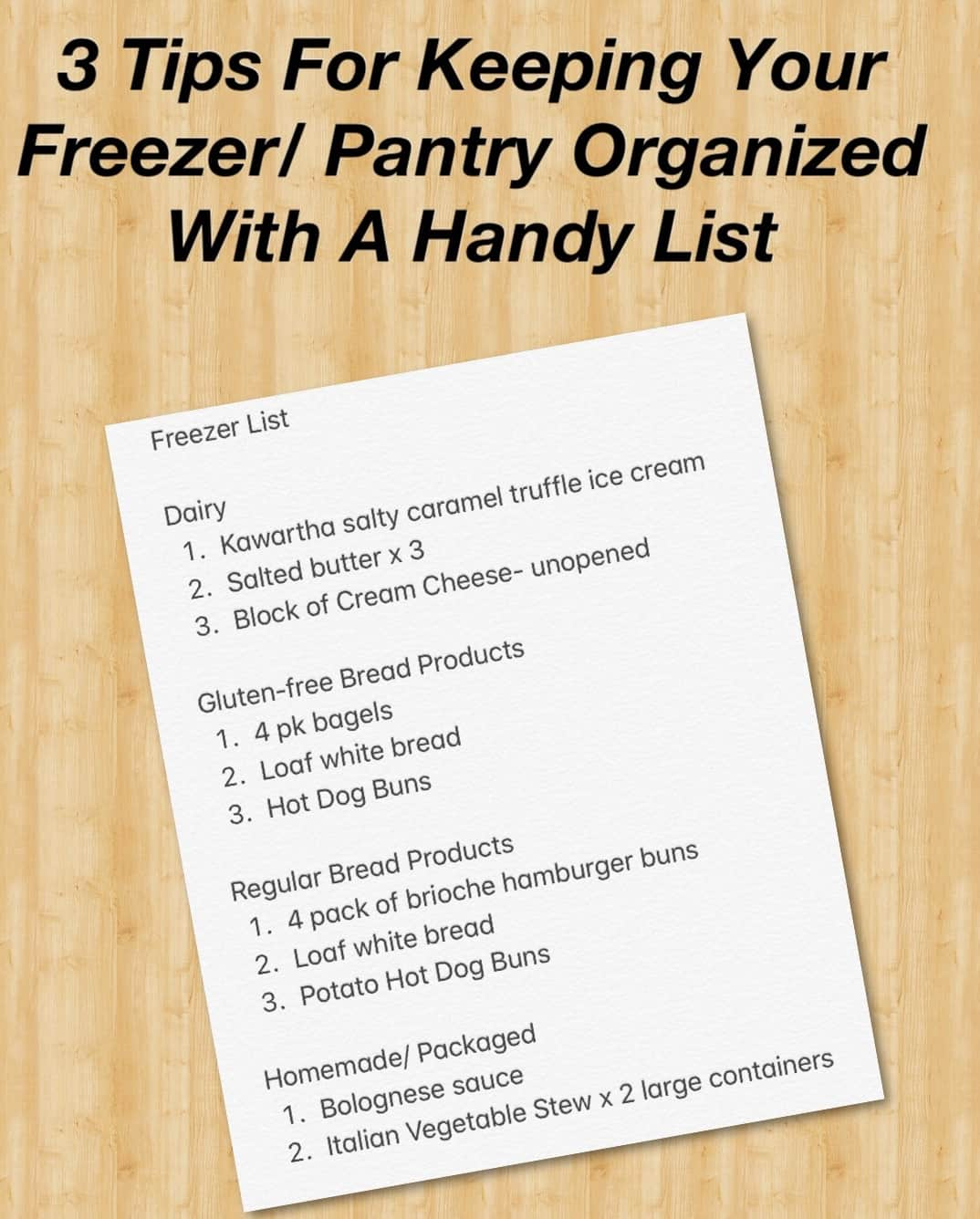Freezer and Pantry Inventory